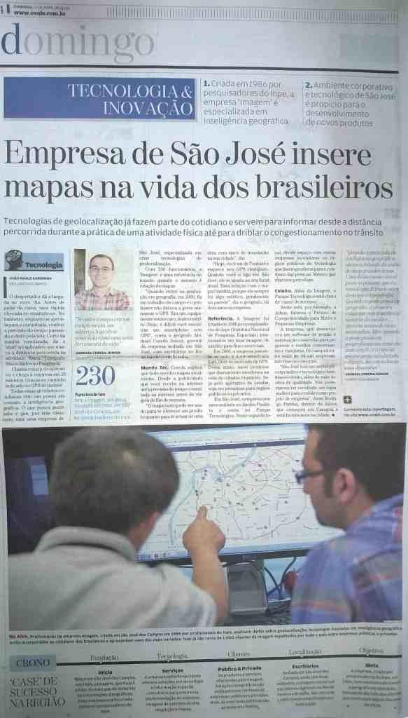 Empresa de São José dos Campos insere mapa na vida dos brasileiros - O Vale - 19/04/2015