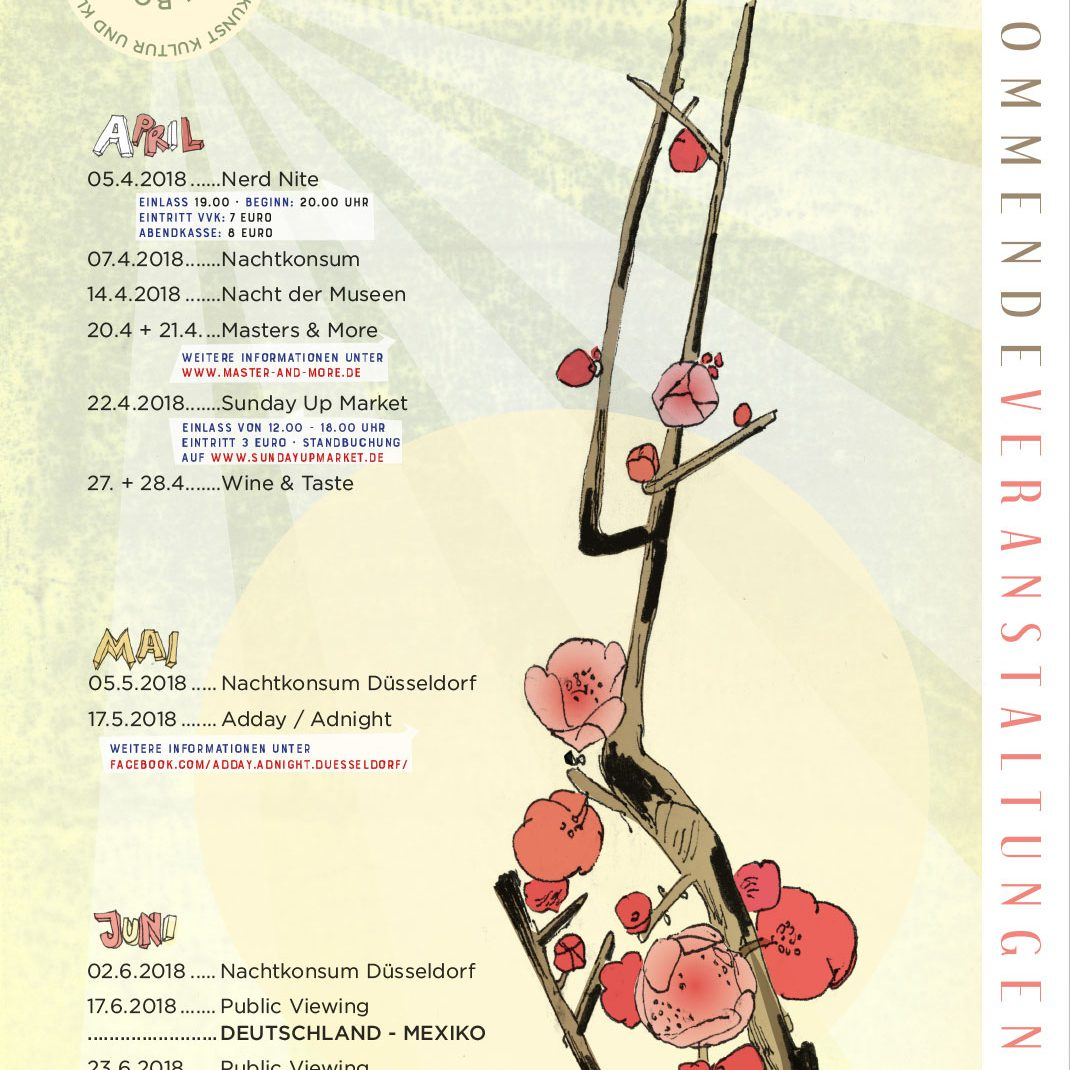 Eventfolder, Illustrated Folder, drawing, cherry, blossom, schedule,