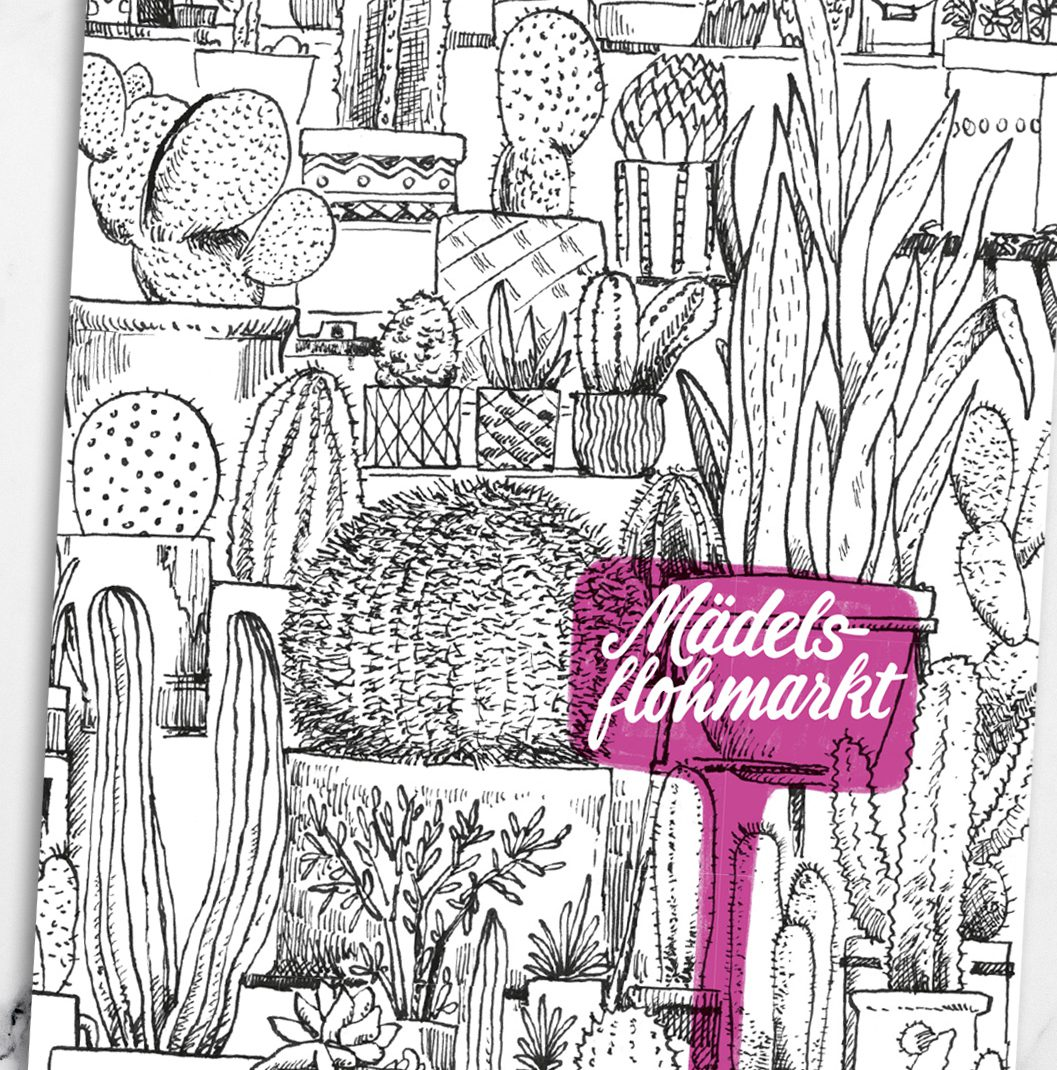 illustration, folder spread, mädelsflohmarkt, girls fleamarket, 0049events,