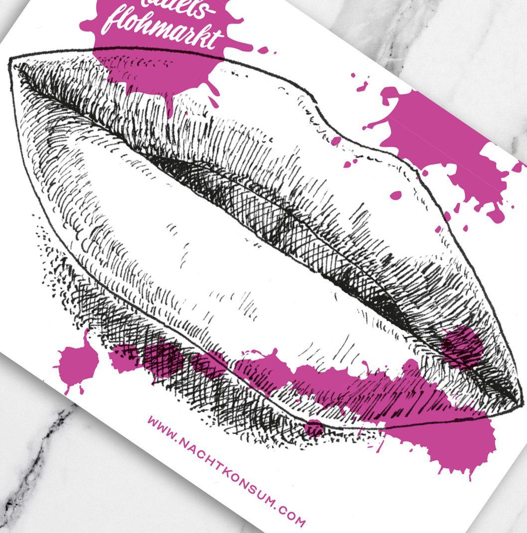 """Illustration, lips, girls mouth, Unfolded page for """"Mädelsflohmarkt"""" / Girls Fleamarket"""