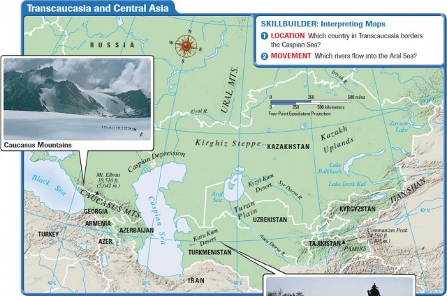 Russia Major Landforms Map