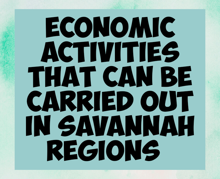 Economic activities carried out in Savannah regions