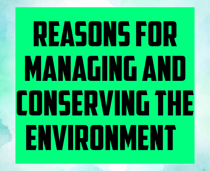 Reasons for managing and conserving the environment