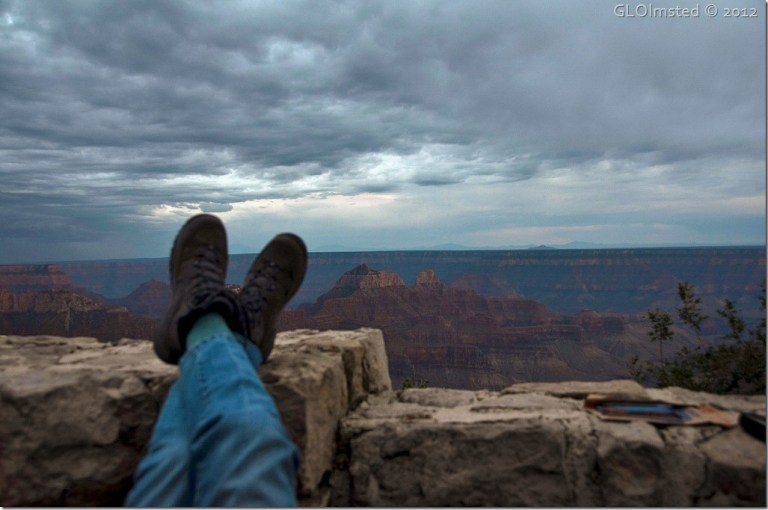 03 Sunset & storm clouds over canyon & Gaelyn's boots NR GRCA NP AZ (1024x678)