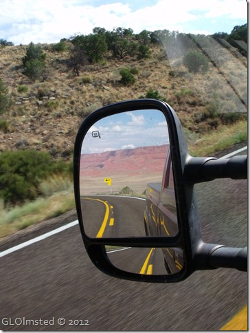 01 Side mirror view of Vermilion Cliffs from SR89A W Kaibab NF AZ