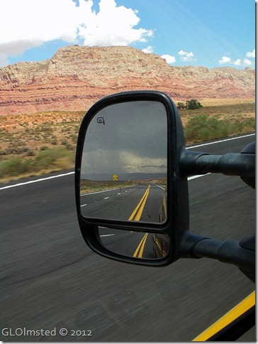 03r yellow Echo Cliffs & storm over Verilion Cliffs in side mirror from SR89 S AZ (768x1024)