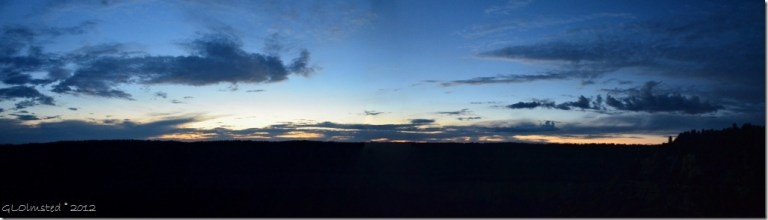 08 Sunset over Widforss Plateau from Employees Rock off Transept trail NR GRCA NP AZ pano (1024x291)