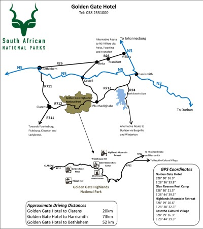 Golden Gate Highlands NP map