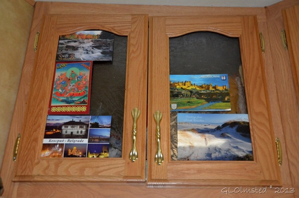 Postcards displayed in RV