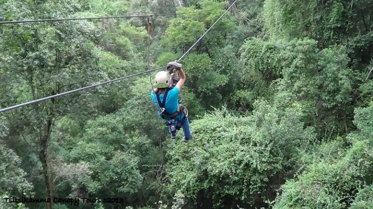 Gaelyn on zip-line Tsitsikamma Canopy Tour Storms River South Africa