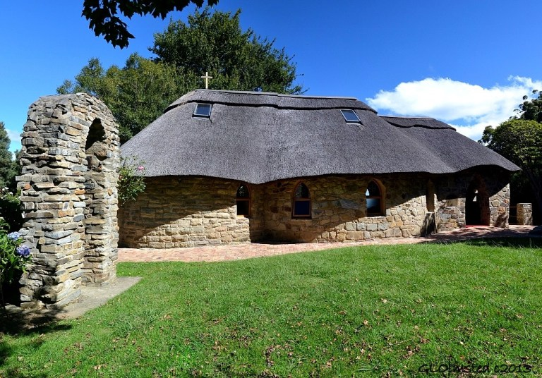 Stone arch & chapel St Patricks on the Hill Hogsback South Africa