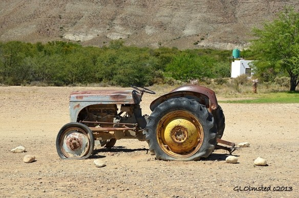 Old tractor at Ronnies Sex Shop Route 62 Barrydale South Africa