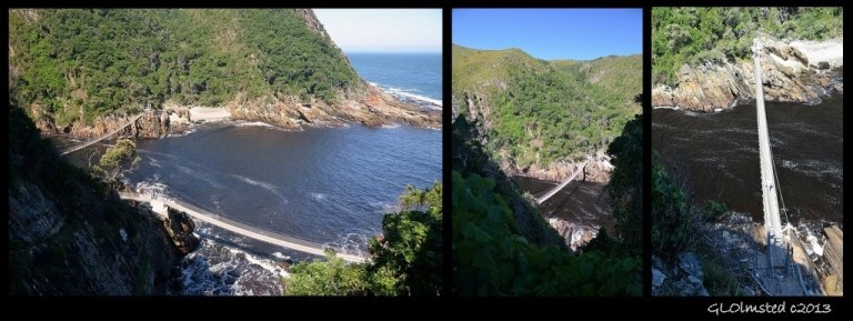 Suspension bridges looking down Storms River Mouth Tsitsikamma National Park South Africa
