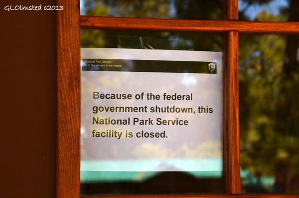 Shutdown sign in Visitor Center window North Rim Grand Canyon National Park Arizona