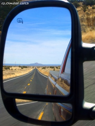 Side mirror view of Red Butte US180 South Kaibab National Forest Arizona