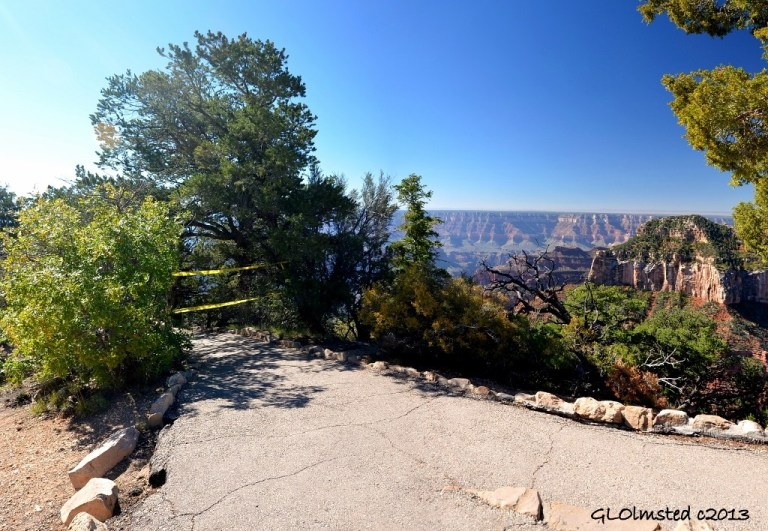 Bright Angel Point trail closed North Rim Grand Canyon National Park Arizona