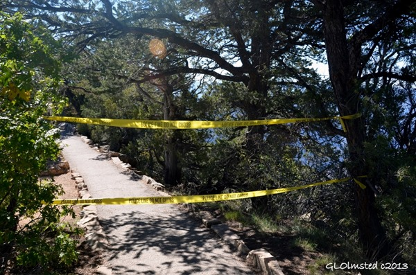 Police line tape closes Bright Angel Point trail North Rim Grand Canyon National Park Arizona