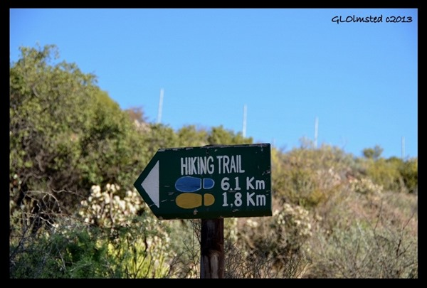 Hiking trail sign Warmwaterberg Spa Barrydale South Africa