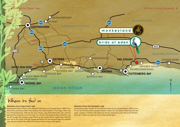 map of Garden Route South Africa