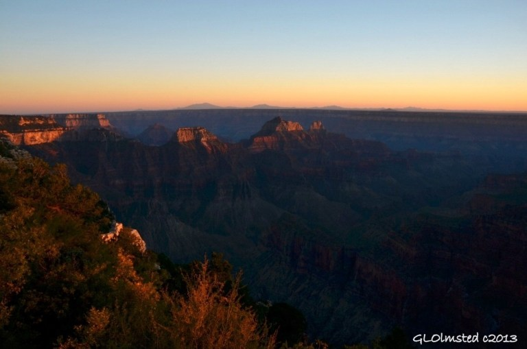 Sunset over canyon North Rim Grand Canyon National Park Arizona