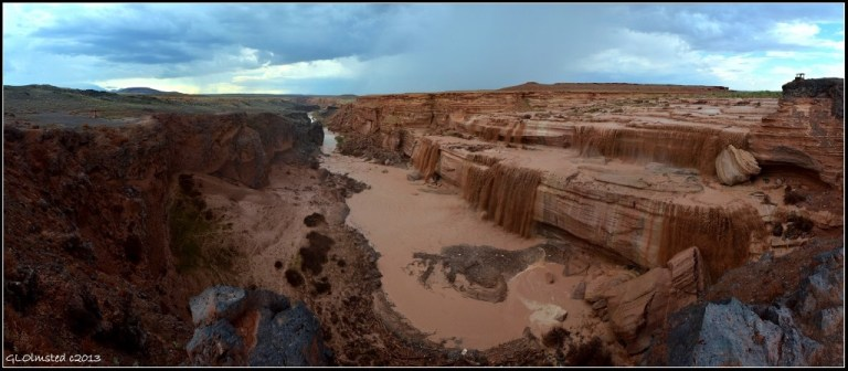 Stormy sky over Little Colorado River at Grand Falls Navajo Reservation Arizona