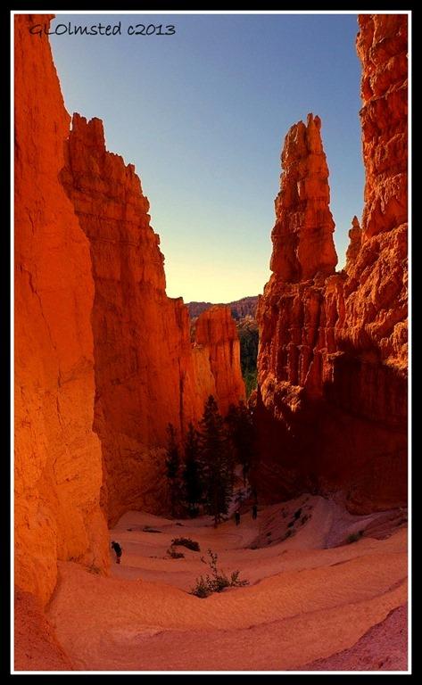 Switchbacks between fins & hoodoos on Navajo Loop trail Bryce Canyon National Park Utah