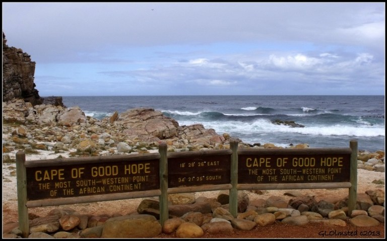 Cape of Good Hope sign & Atlantic Ocean Table Mountain National Park Cape Pennisula South Africa