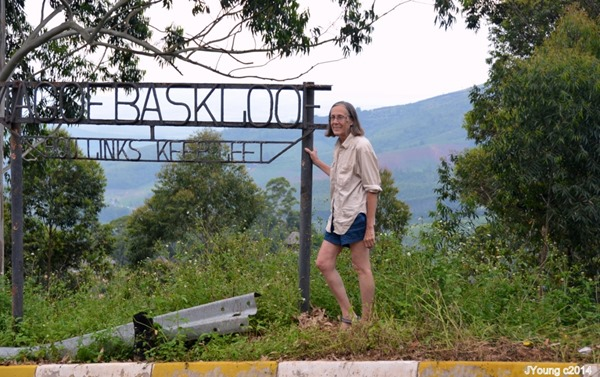 Gaelyn by Magoebaskloofe Pass sign South Africa