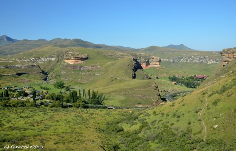 View of Reception from Echo Ravine trail Golden Gate Highlands National Park South Africa