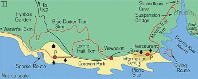 Trail map Tsitsikamma National Park South Africa