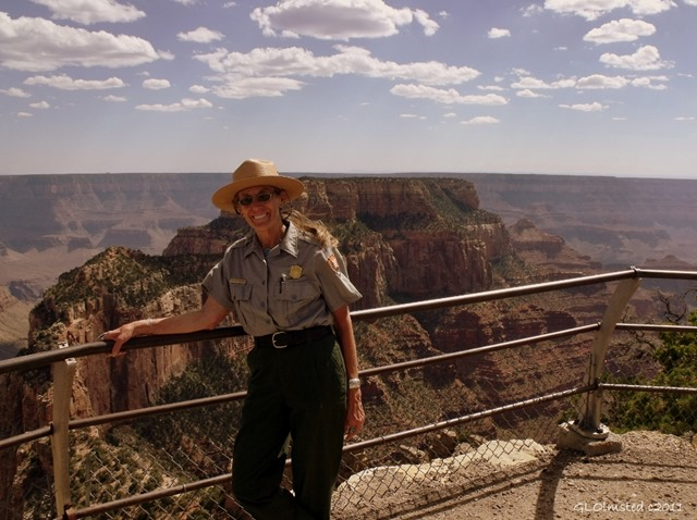 Ranger Gaelyn at Cape Royal overlook North Rim Grand Canyon National Park Arizona