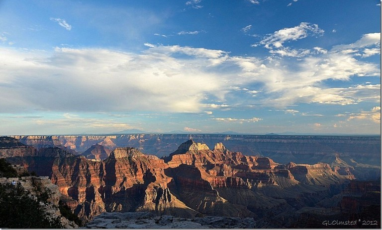Late light shadows on temples from Grand Lodge North Rim Grand Canyon National Park Arizona