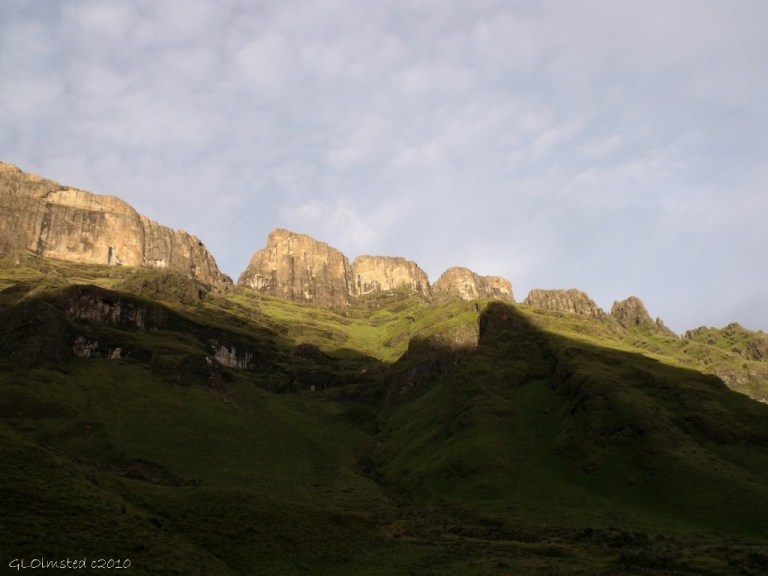 Morning light above camp Drakensburg hike KwaZulu-Natal South Africa