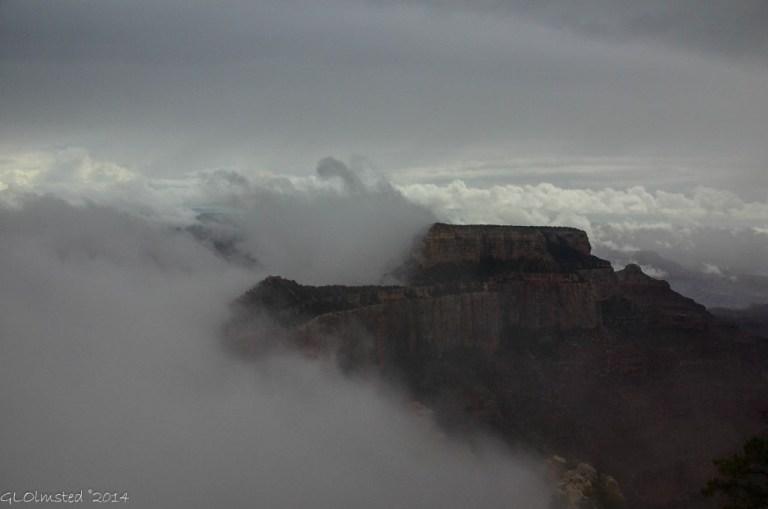 Fog around Wotans Throne Cape Royal North Rim Grand Canyon National Park Arizona