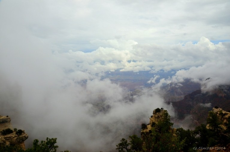 Cloudy view of canyon Walhalla Plateau North Rim Grand Canyon National Park Arizona