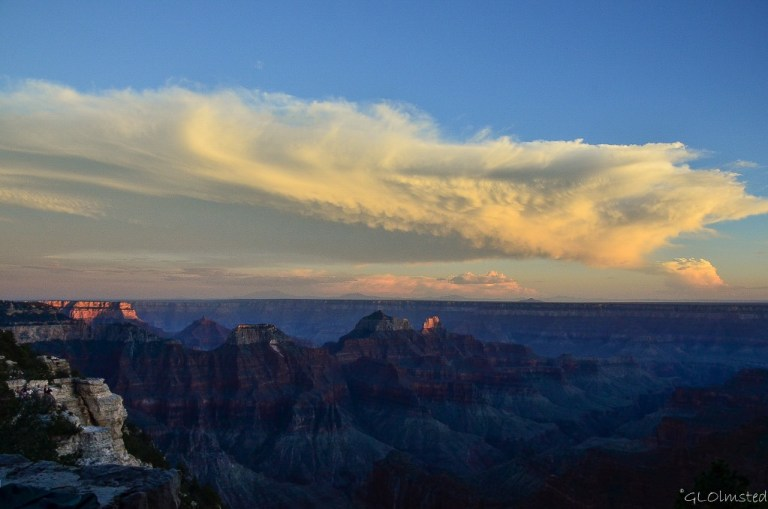 Last light on temples and clouds from Lodge North Rim Grand Canyon National Park Arizona