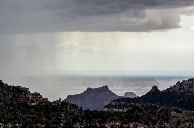 Rain moving across canyon from Lodge North Rim Grand Canyon National Park Arizona