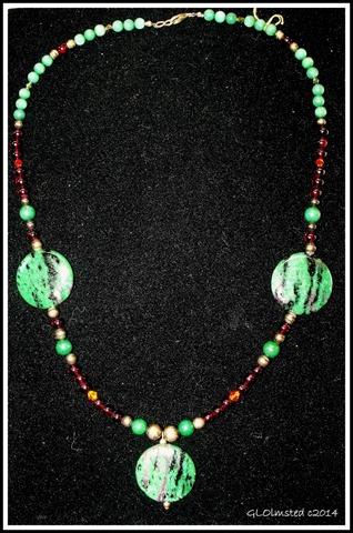 24 in necklace zoisite, garnet, jade, sworovski crystal, sterling silver