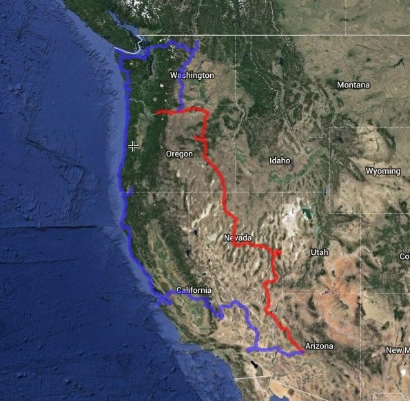 Map of tentative road trip