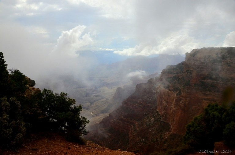 Cloudy view of canyon Cape Royal Walhalla Plateau North Rim Grand Canyon National Park Arizona