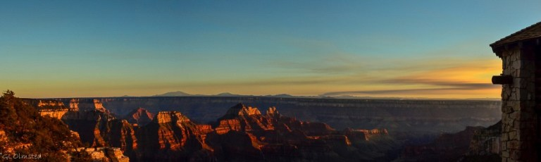 Sunset & last light on temples from Lodge North Rim Grand Canyon National Park Arizona