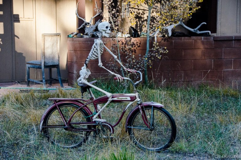 Skeleton on bike at residence North Rim Grand Canyon National Park Arizona