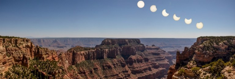 Partial solar eclipse over Grand Canyon