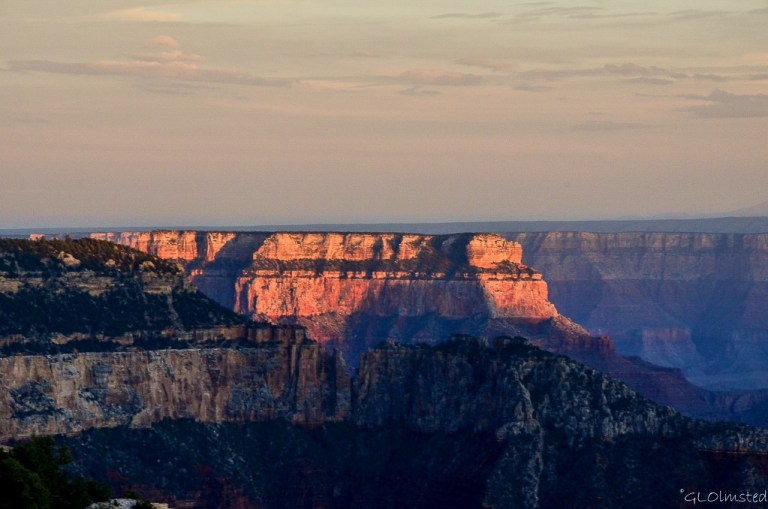 Last light on Wotans Throne from Lodge North Rim Grand Canyon National Park Arizona