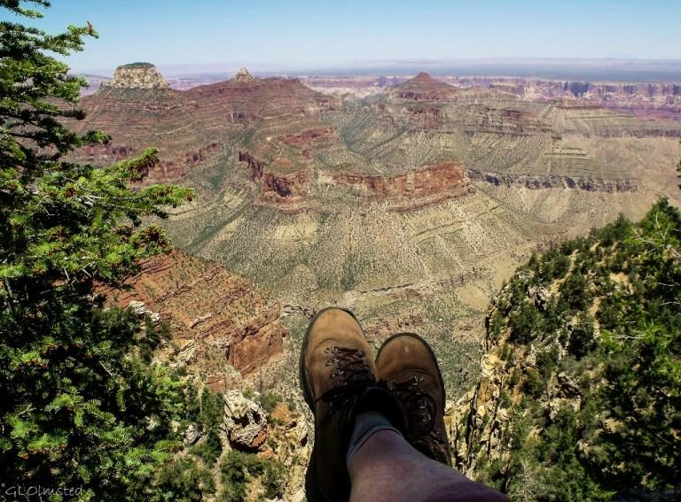 Gaelyn's feet & view NE Cape Final trail North Rim Grand Canyon National Park Arizona