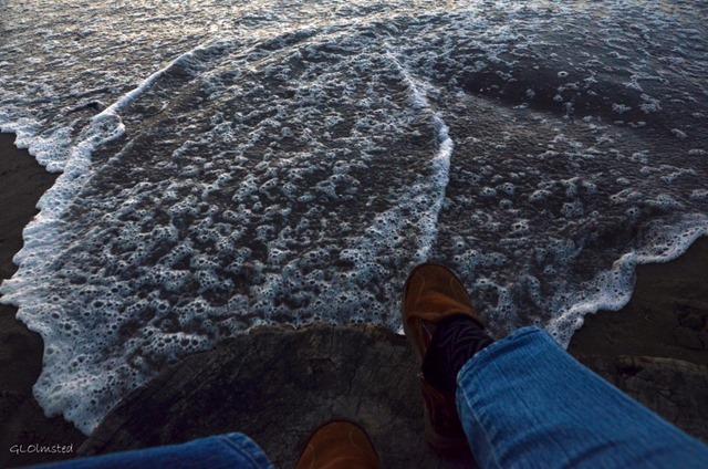 High tide around the stump I'm sitting on Bandon Oregon