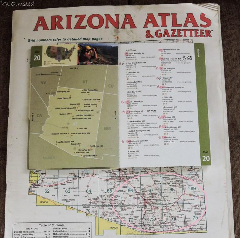 Arizona map & National Park list