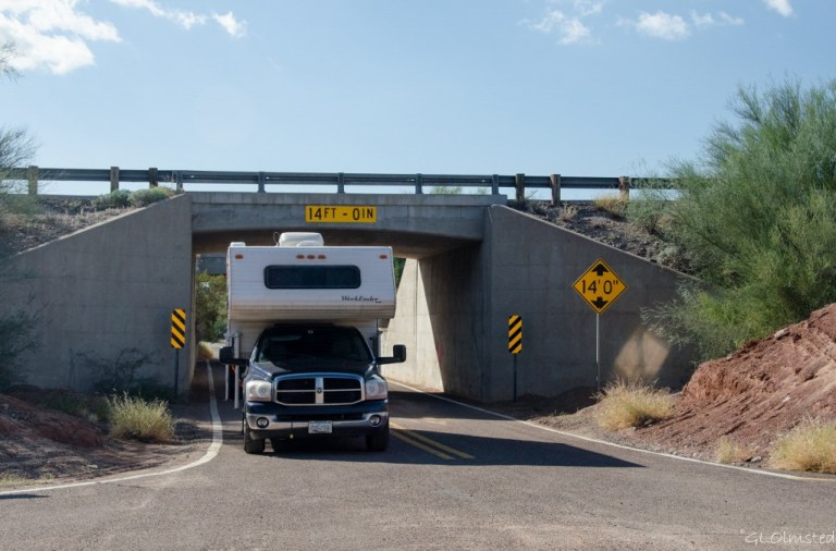 Truck & camper Freeman Road underpass BLM Sonaran Desert National Monument Arizona