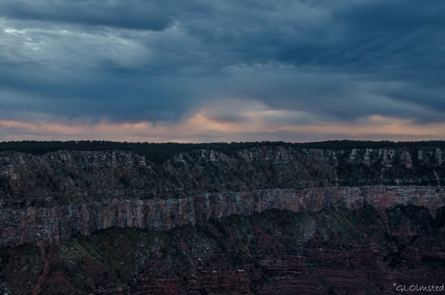 Low clouds at sunset over Widforss Plateau from Lodge North Rim Grand Canyon National Park Arizona