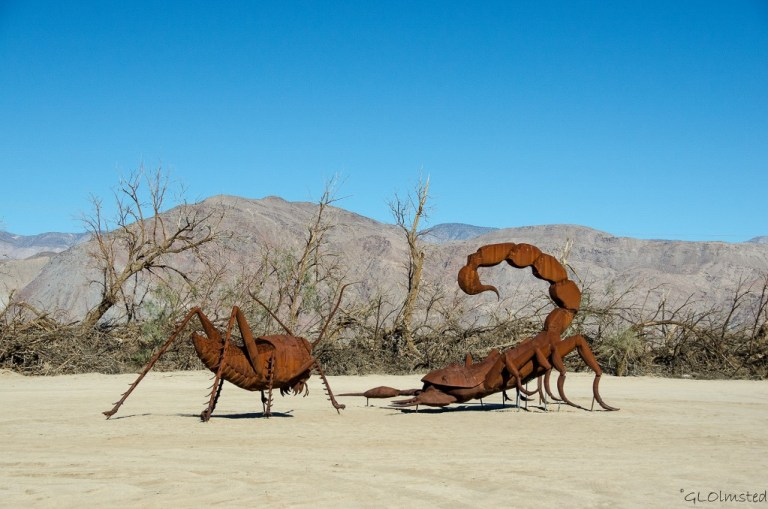 Grasshopper & scorpion metal sculpture by Ricardo Breceda Galleta Meadows Borrego Springs California